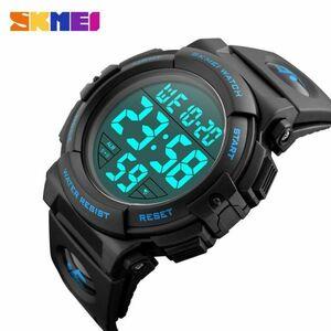 スポーツウォッチメンズアウトドアファッションデジタル多機能LED腕時計 blue