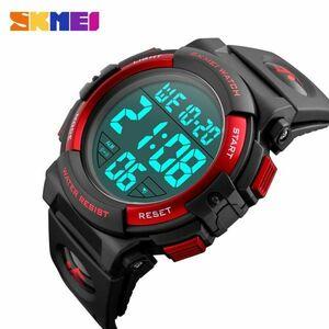スポーツウォッチメンズアウトドアファッションデジタル多機能LED腕時計 red
