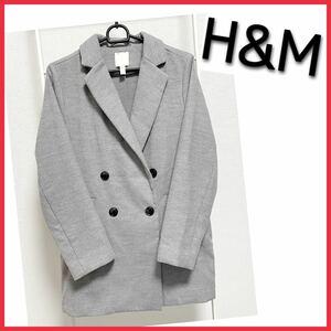 未使用!Lサイズ H&M エイチアンドエム ロングテーラードジャケット ライトグレー 灰色 レディース アウター 古着