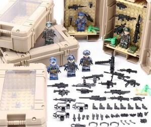 特殊部隊6体 収納ケース6点、武器つき戦争軍人軍隊マンミニフィグ LEGO 互換 ブロック ミニフィギュア レゴ 互換t39