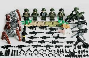 野戦部隊6体 バイク武器つきセット 戦争軍人軍隊マンミニフィグ LEGO 互換 ブロック ミニフィギュア レゴ 互換t30