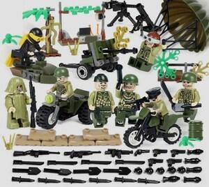 アメリカ軍8体 車両武器つきセット 戦争軍人軍隊マンミニフィグ LEGO 互換 ブロック ミニフィギュア レゴ 互換t25