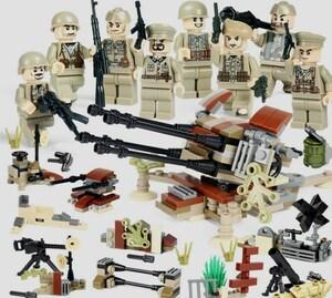 第二次世界大戦 ドイツ軍8体 武器つきセット 戦争軍人軍隊マンミニフィグ LEGO 互換 ブロック ミニフィギュア レゴ 互換t31