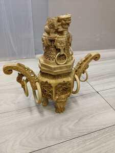 中国美術 中国古玩 唐物 細密透彫刻遊環耳付 香炉 高さ29cm 古美術品 (旧家蔵出)