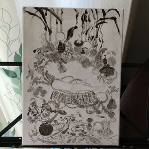 伊藤若冲 果蔬涅槃図(かそねはんず) 模写 油絵