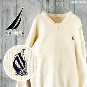 NAUTICA LL , XL 相当 コットン ワンポイント ロゴ 刺繍 Vネック ニット セーター アイボリー オフホワイト ベージュ ヨット ノーティカ