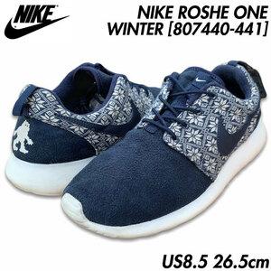 国内正規品■NIKE (ナイキ) ROSHE ONE WINTER ローシ ワン ウィンター スニーカー 靴 紺白ネイビー/ホワイト US8.5 26.5㎝ [807440-441]