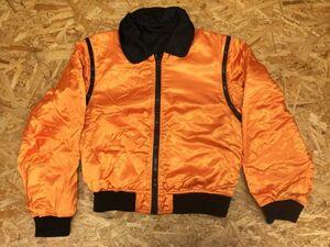 ノーブランド ETANN レトロ ミリタリー CWU-45型 リバーシブル ブルゾン フライトジャケット メンズ 多重ジップ 変形 黒 オレンジ