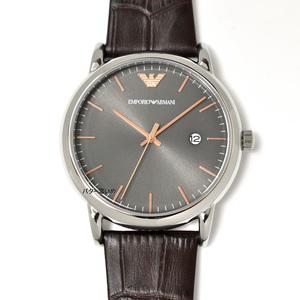 エンポリオアルマーニ EA 腕時計 メンズ 革ベルト レザーベルト グレー×ローズゴールド文字盤 EMPORIO ARMANI 新品未使用