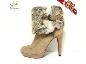 ダイアナ DIANA ショートブーツ 23 - スエード×ファー ベージュ レディース 靴