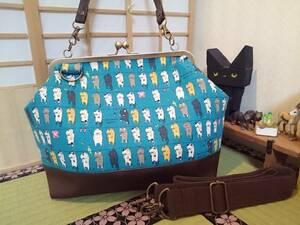 洗濯 猫 にゃんこ 青 ブルー ネコ かわいい ねこ がま口 3way ショルダー バッグ ハンドメイド 手提げ 斜めかけ 和装 着物 長財布 入ります
