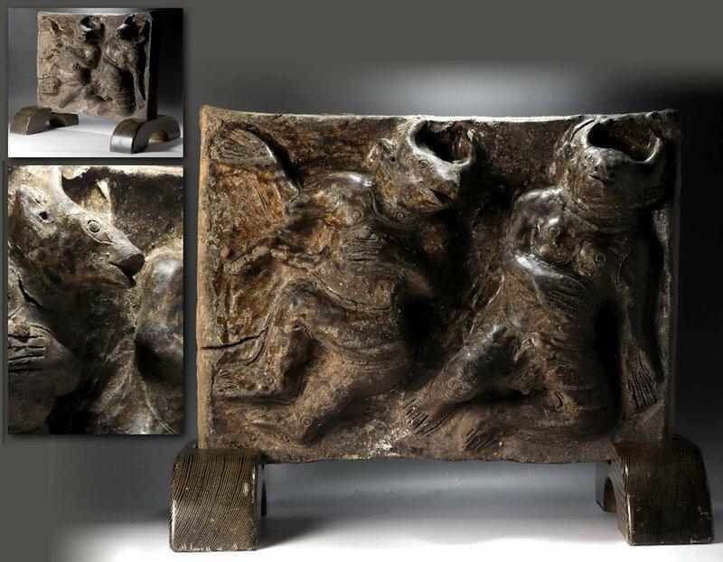 【源】【即決?送料無料】10世紀? アンコールワット?クメール? 牛頭武人像 璧飾り/衝立仕立て