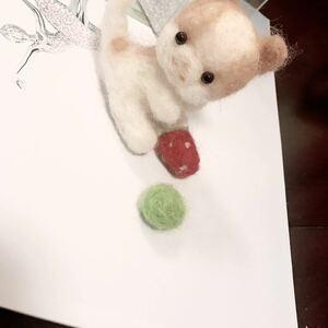 羊毛フェルト ハンドメイド ぬいぐるみ 猫 ネコ ねこ 子猫 苺 いちご セット