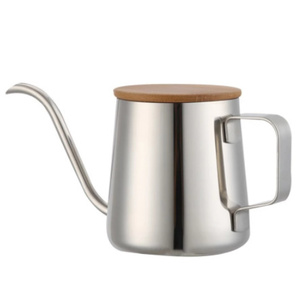 350ミリリットル 細長いスパウトコーヒーポット グースネックやかん ステンレス鋼 ハンドドリップケトル 紅茶ポット 木製