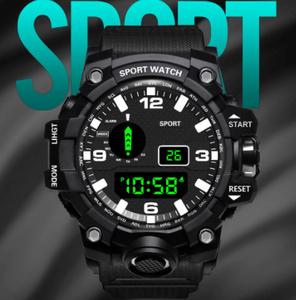 高級メンズデジタルLED時計 屋外 電子時計 ディスプレイポインター 発光スポーツカモフラージュ デジタル時計