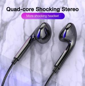 クアッドコア モバイルワイヤードヘッドホン 3.5mm スポーツイヤフォン ステレオヘッドセット マイクミュージックイヤフォン
