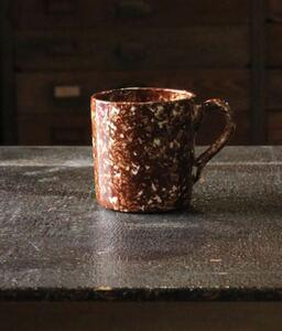 White Spatter Spongeware Mug ホワイトスパッター スポンジウェアマグ ビンテージマグカップ コーヒー 陶器 ブラウン×白 コーヒーカップ