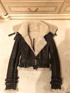 BLOBITALY羊革ラムレザーリアルムートンファーライダースジャケットコート美品