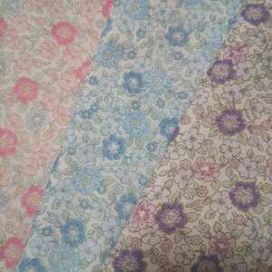 ダブルガーゼ生地 国産 リバティ風 フラワープリント 小花柄 3枚セット
