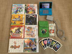値下げしました! 任天堂 3DS本体ブルー ゲームソフト8点 付属品有り 14点まとめて