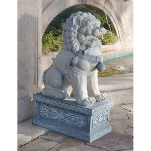 紫禁城の巨大彫刻フー・ドッグ(唐獅子)彫像 高さ 約76cm/ エントランス 玄関 新築祝い 中華飯店 新店舗 記念プレゼント 贈り物(輸入品