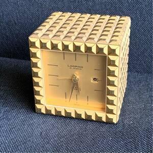 激レアアンティーク品!Looping ルーピング SWISS 15 Jewels ゴールド 置き時計 vintage Alarm Clock 時計