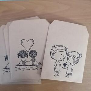 ハンドメイド 平袋 クラフト紙 カップル 各5枚