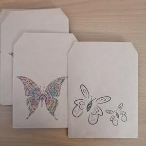 ハンドメイド 平袋 クラフト紙 蝶々 各5枚