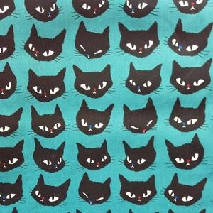 黒猫の顔(ターコイズ) 生地 ハギレ