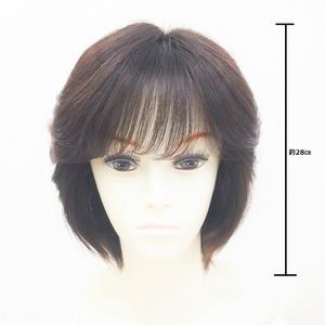 (送料無料)(展示品入れ替えセール 1点限りショートヘア② ダークブラウン 人毛100%総手植えウィッグ 全頭 かつら 脱毛症 抗がん剤治療中