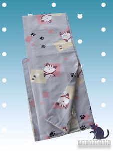 【和の志】洗える着物◇袷小紋◇Mサイズ◇グレー系縞・かわいい猫柄◇AHM_413