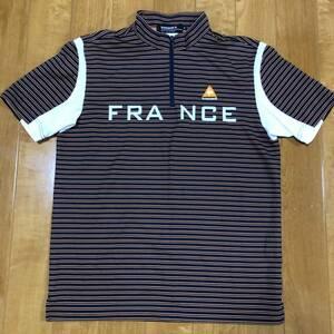 【le coq sportif golf】 ルコック ゴルフ ゴルフウェア 半袖 ハーフジップ ポロシャツ メンズ Mサイズ 美品!