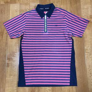 【NEW BALANCE GOLF】 ニューバランス ゴルフ メンズ 半袖 ハーフジップシャツ ポロシャツ 7 ボーダー柄 迅速発送!