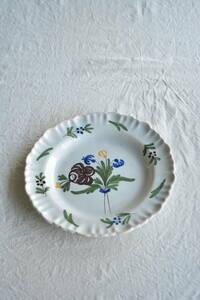 フランス 1800年代 ファイアンス焼 絵付皿 ts339 アンティーク ブロカント ビンテージ ヨーロッパ 蚤の市