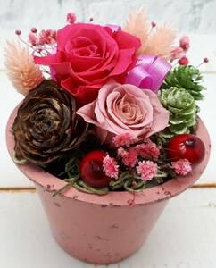 ★新作!プリザーブドフラワー ミニカップアレンジ ピンク 誕生日祝 母の日 プチギフトに ★