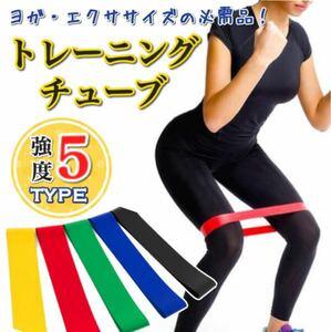 トレーニングチューブ 強度別5本セット フィットネス ダイエット 体幹 チューブ ゴム バンド