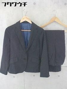 ◇ LAPIS BEAMS ビームス ストライプ シングル パンツ スーツ 上下 サイズ38 ブラック レディース