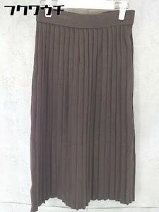 ◇ ◎ Avan Lily アヴァンリリィ タグ付 膝丈 プリーツ ニット スカート FREE ブラウン レディース