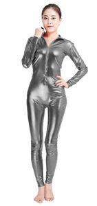 ハイネック全身タイツ エナメル材質 着ぐるみ バレエウェア ユニセックス 変装コスチューム ダークグレー S~XXXLサイズ