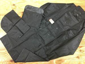 タグ付き新品! 無印良品 MUJI フリーカット レインコート ロング丈 メンズ フード着脱可 M 黒