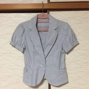 テーラード ジャケット 半袖 青 ストライプ