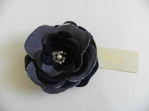 3806 カジュアル 紺 大きいコサージュ 10x10 普段使いも★デニム的な生地 髪飾りにも