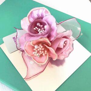 新品50817-24 ピンク系 異素材エレガントコサージュ 日本製ラブリーハートラブリークイーン パールビジュー卒業式入学式発表会