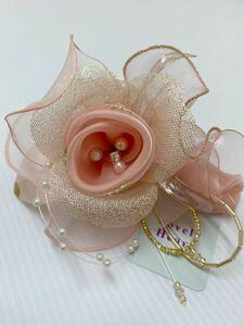 新品50817-8 ピンクゴールド花柄チュールコサージュ 日本製コサージュラブリーハート パールビジュー卒業式入学式発表会