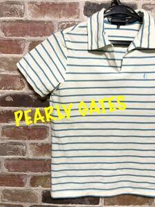 22B20 PEARLYGATES パーリーゲイツ メンズ 半袖 ポロシャツ ゴルフウェア サイズ1 ボーダー柄 [E0143]