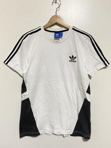 ★ adidas クルーネック 半袖 Tシャツ 0 白 黒 スリーライン ロゴ刺繍 ビックロゴプリント トレフォイルロゴ デザインプリント ホワイト