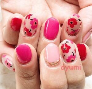 ネイルチップ オーダー マリメッコ 柄 お花 フラワー ピンク 春ネイル