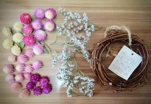 送料無料●おうち時間 簡単 手作りリースキット タタリカと千日紅の花冠風リース 3●