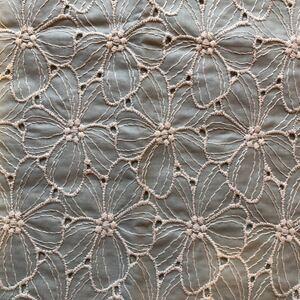 コットンレース生地 花柄刺繍 グリーン系