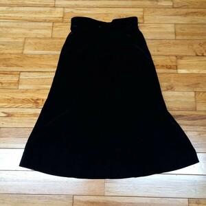黒 レーヨン ロングスカート